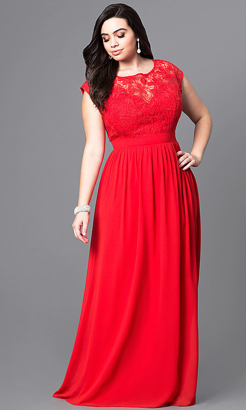 Image of plus-size long formal prom dress with lace bodice. Style: LP-22620P Detail Image 2