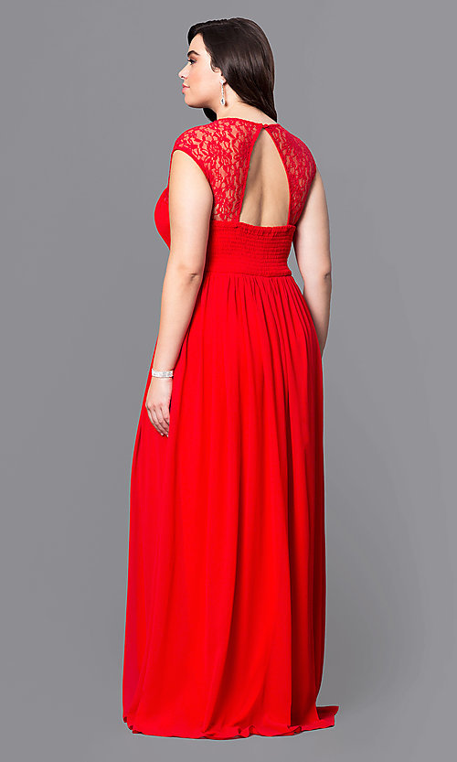 Image of long open-back plus-size prom dress with lace. Style: LP-21299P Back Image