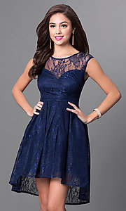 Image of sleeveless high-low navy blue lace homecoming dress. Style: LP-23826 Front Image