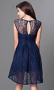 Image of sleeveless high-low navy blue lace homecoming dress. Style: LP-23826 Back Image