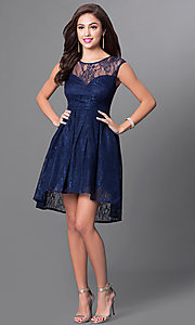 Image of sleeveless high-low navy blue lace homecoming dress. Style: LP-23826 Detail Image 1