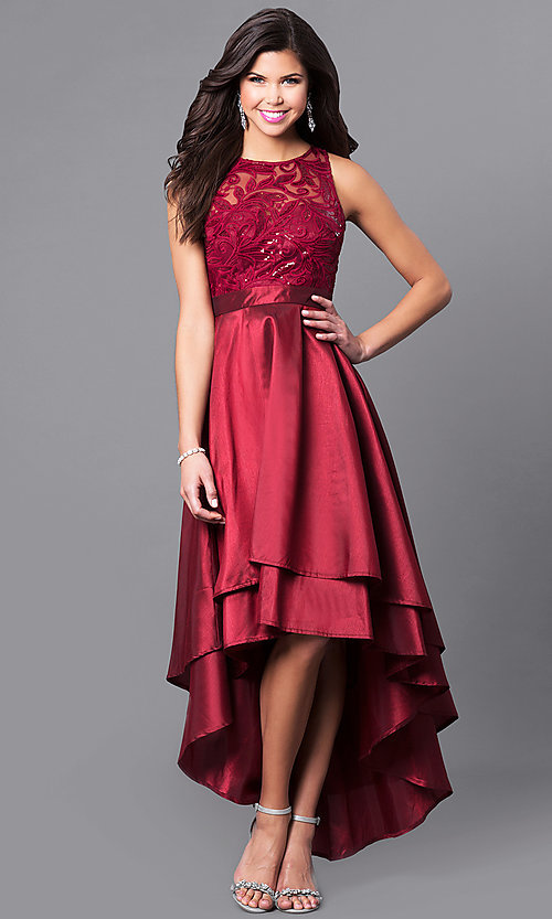Image of high-low prom dress with embroidered illusion bodice. Style: LP-24048 Detail Image 1