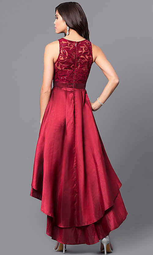 Image of high-low prom dress with embroidered illusion bodice. Style: LP-24048 Back Image
