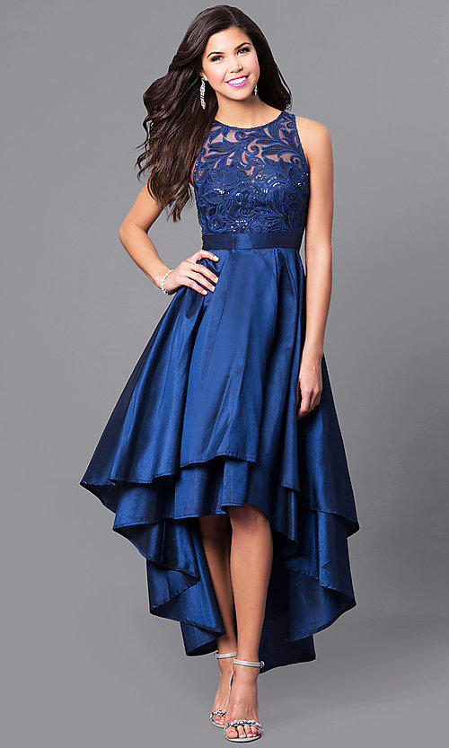 Image of high-low prom dress with embroidered illusion bodice. Style: LP-24048 Front Image