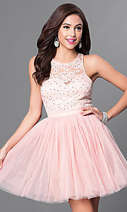 Image of sleeveless homecoming dress with lace bodice. Style: LP-23919 Detail Image 2