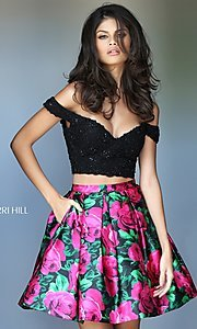 Two Piece Off-the-Shoulder Homecoming Dress