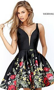 Black Multi-Color Print Homecoming Dress by Sherri Hill