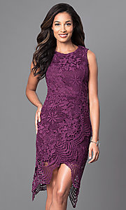 Image of sleeveless knee-length wine purple lace party dress. Style: INA-IDA70968 Front Image