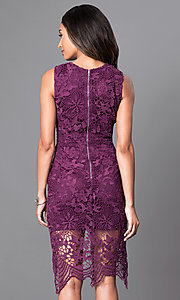 Image of sleeveless knee-length wine purple lace party dress. Style: INA-IDA70968 Back Image