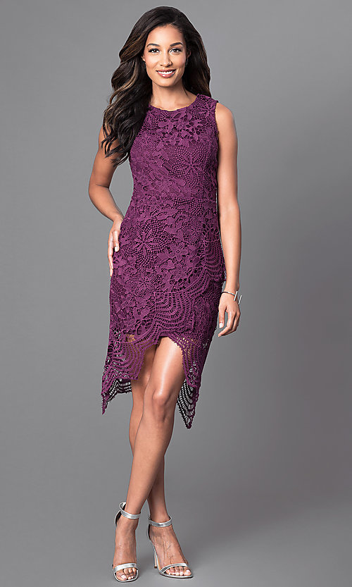 Image of sleeveless knee-length wine purple lace party dress. Style: INA-IDA70968 Detail Image 1