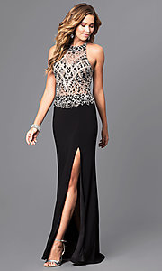 High-Neck Beaded Bodice Long Prom Dress