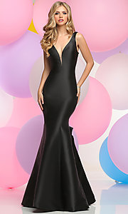 V-Neck Prom Dress with Low Back and Bustle