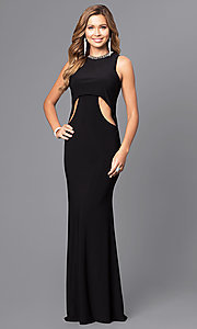 Long Open Back Prom Dress with Jeweled Collar