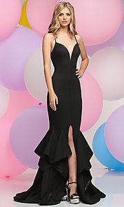 Tiered Mermaid-Style V-Neck Long Prom Dress