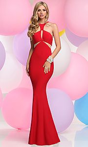 Long Prom Dress with Front and Back Cut Outs