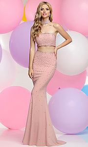 Mock Two Piece Prom Dress with Choker Collar