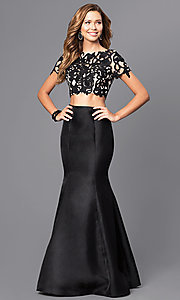 Two-Piece Short-Sleeve Long Prom Dress with Lace Applique