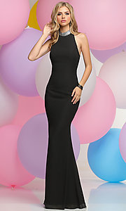 High Neck Prom Dress with Open Draped Back