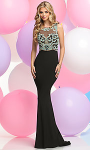 Beaded Bodice Floor Length Prom Dress