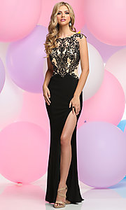 Embroidered Lace Bateau Neck Bodice Prom Dress
