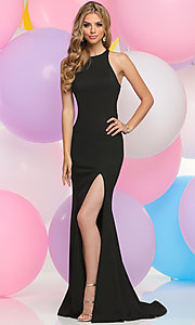 Long Cut Out Back Prom Gown with Train and Slit