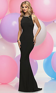 Jeweled Collar Prom Dress with Cut Out Back