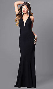 Lace Back Floor Length V-Neck Prom Dress