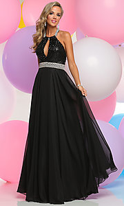 Long Prom Dress with Sequin Keyhole Halter Top