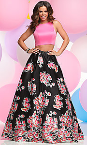 Two-Piece Prom Dress with Floral A-Line Skirt