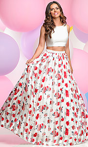Floral Print Two Piece Prom Dress