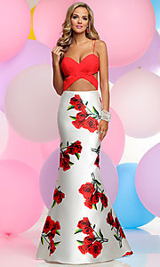 Sweetheart Mock Two-Piece Floral Print Prom Dress