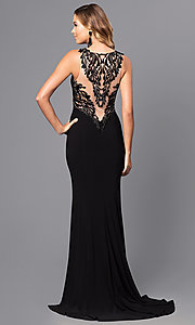 Long Prom Dress with Embroidered Illusion Back