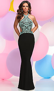 Beaded Halter Prom Dress with Cutout Sides