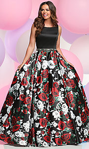 Long Floral Print Skirt Prom Dress