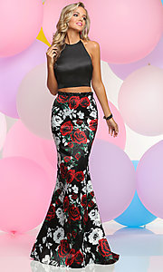 Two-Piece Floral Print Skirt Halter Prom Dress