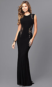 Long Prom Dress with Trumpet Skirt and Lace Applique