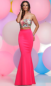 Floral Print Strapless Bodice Two-Piece Prom Dress