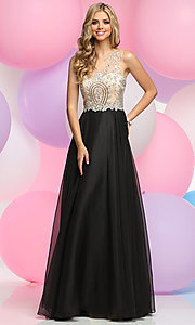 Illusion Sweetheart Prom Dress with Beaded Bodice