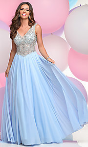 Long V-Neck Prom Dress with Beaded Bodice