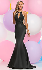 Keyhole-Bodice Long Prom Dress with Lace Applique