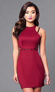 Image of high-neck short sheath party dress. Style: MT-8200 Front Image