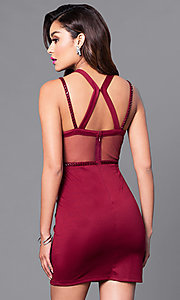 Image of high-neck short sheath party dress. Style: MT-8200 Back Image