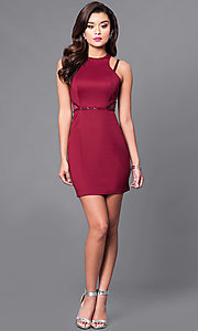 Image of high-neck short sheath party dress. Style: MT-8200 Detail Image 1