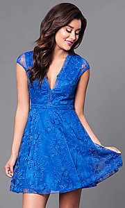 Royal Blue Short Lace V-Neck Dress