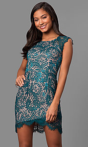 Short Lace Party Dress with Asymmetrical Hemline