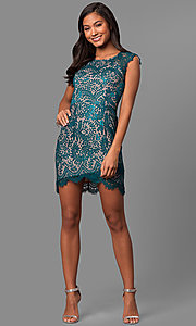 Image of short lace party dress with asymmetrical hemline. Style: MT-8282 Detail Image 1