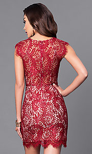 Image of short lace party dress with asymmetrical hemline. Style: MT-8282 Back Image