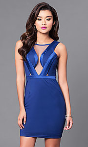 Image of short scoop-neck party dress with illusion bodice. Style: MT-8283 Front Image