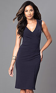 Knee Length Ruched Surplice Bodice Dress