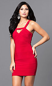 Image of red mini holiday party dress with open back. Style: EM-EYS-1027-600 Front Image